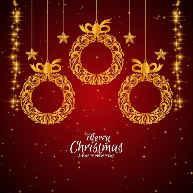 金色のクリスマスボールとメリークリスマスの赤い背景 無料ベクター