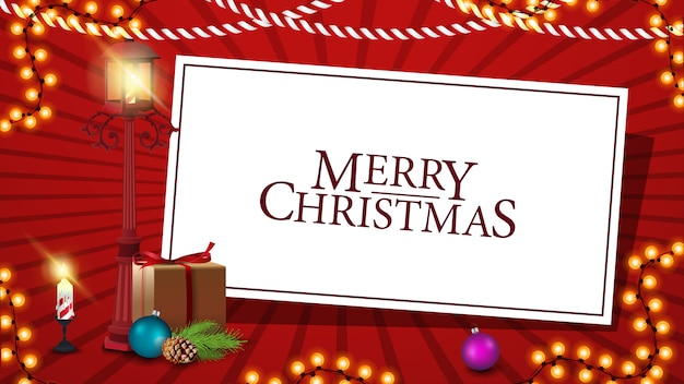 Merry christmas red postcard with white paper sheet Premium Vector