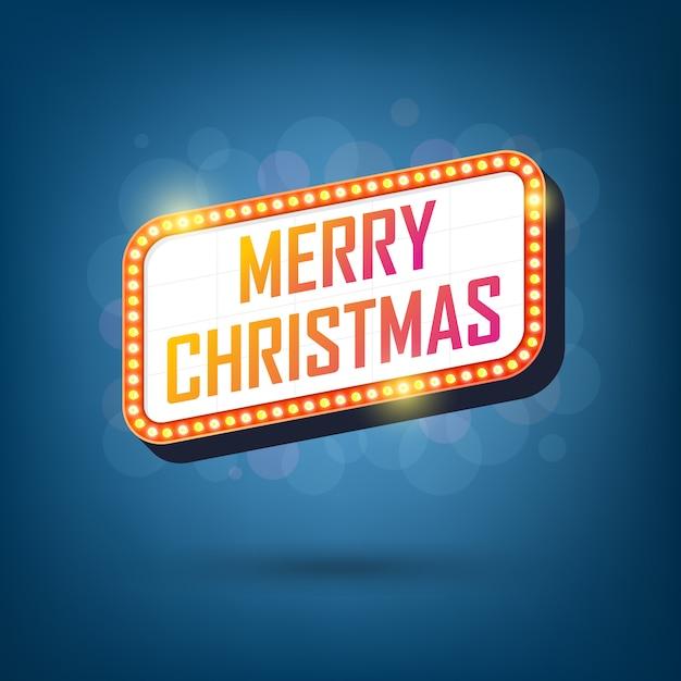 Лампочки рекламные щиты merry christmas retro легкие рамки Premium векторы