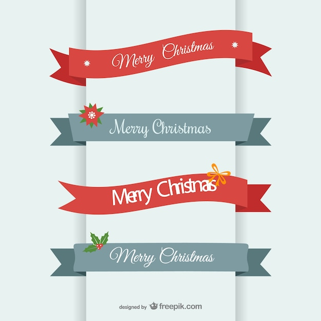 Merry Christmas ribbon banner Vector | Free Download