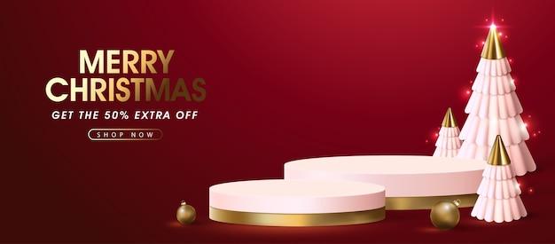 製品表示表彰台とメリークリスマスセールバナーテンプレート Premiumベクター