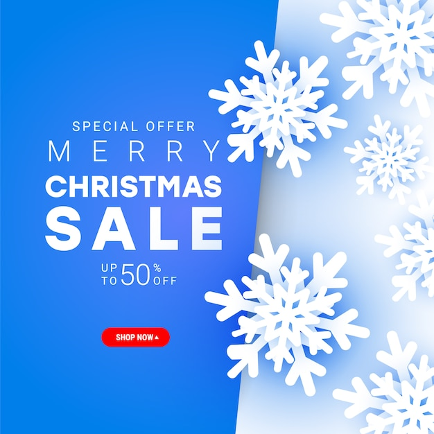 Merry christmas sale banner with paper cut cold snowflakes elements flying chaotically in the air with discount text for christmas holiday shopping promotion. Premium Vector