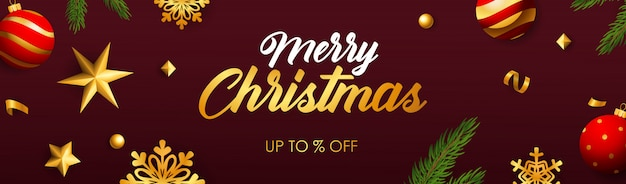 Merry christmas sale banner Free Vector