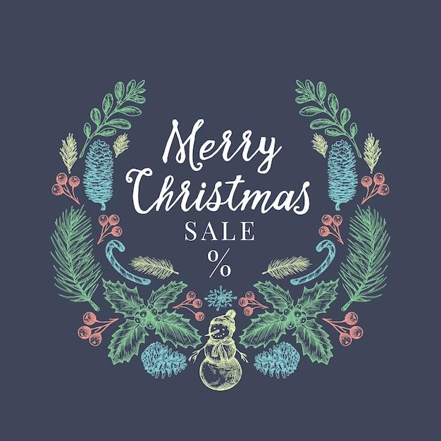 메리 크리스마스 판매 할인 손으로 그린 스케치 화 환, 배너 또는 카드 서식 파일. 무료 벡터