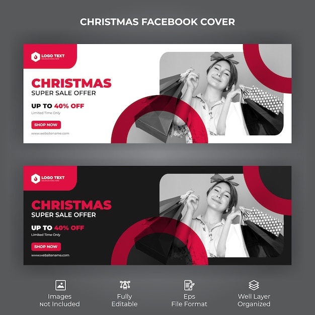 Merry christmas sale offer facebook cover banner Premium Vector