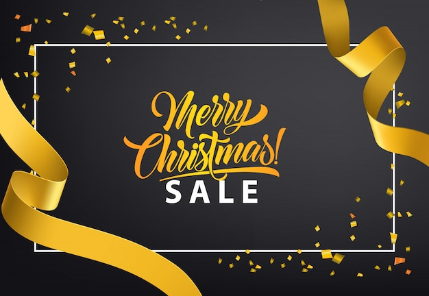 Merry Christmas Sale poster design. Gold confetti Free Vector