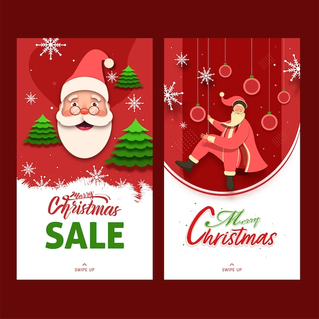 С рождеством христовым распродажа шаблон или дизайн флаера с мультяшным санта-клаусом в двух вариантах Premium векторы