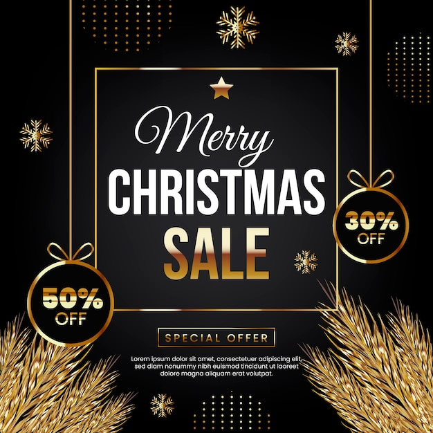 Merry christmas sale with special offer Free Vector