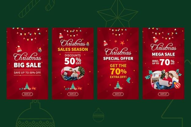 メリークリスマスセールinstagramストーリーテンプレート Premiumベクター