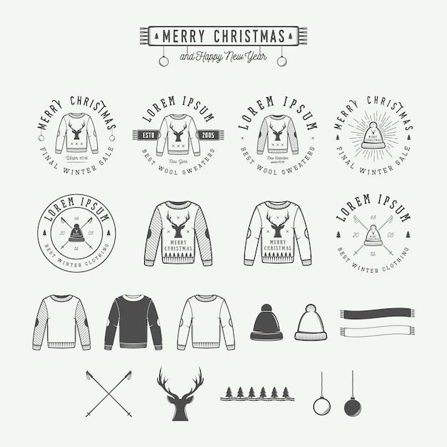 Merry christmas sales logo, emblem Premium Vector