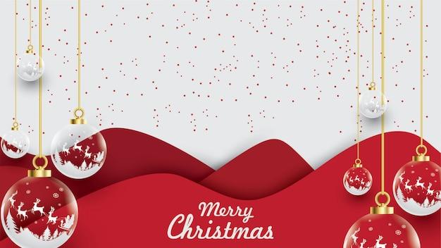 Merry christmas of santa claus on the sky Premium Vector