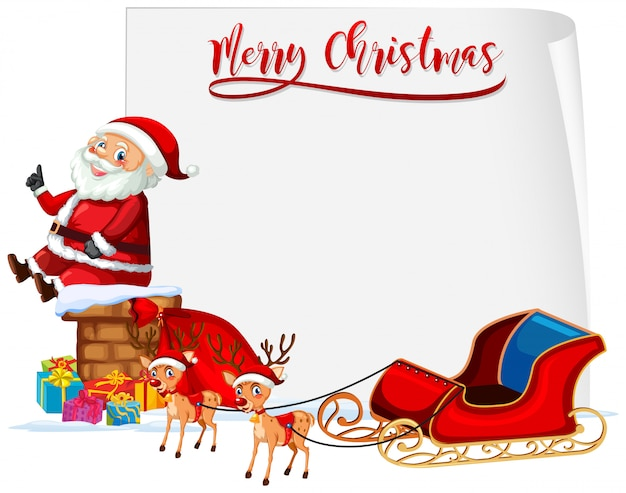 Merry christmas santa and sleigh concept Free Vector