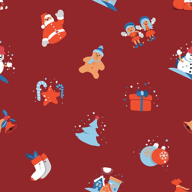 premium vector merry christmas seamless background with santa claus kids cute cartoon character https www freepik com profile preagreement getstarted 3508314