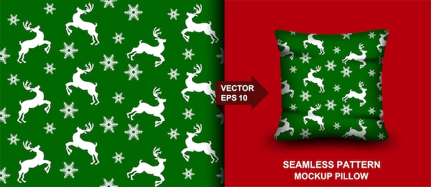 メリークリスマスのシームレスなパターン。鹿の背景。枕、プリント、ファッション、衣類、生地、ギフト包装のデザイン。 Premiumベクター