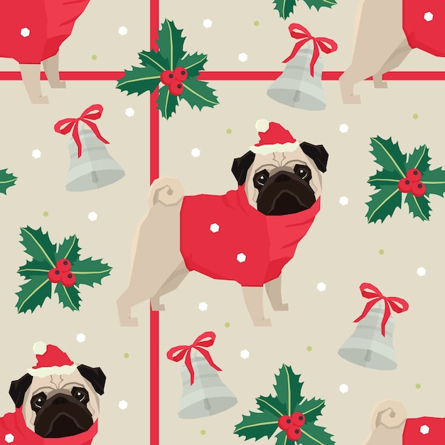 Merry christmas seamless pattern with the pugs Free Vector