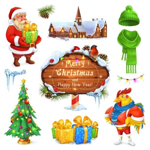 메리 크리스마스 그림을 설정합니다. 산타 클로스. 크리스마스 트리. 나무 간판입니다. 선물 상자. 겨울 니트 모자. 프리미엄 벡터