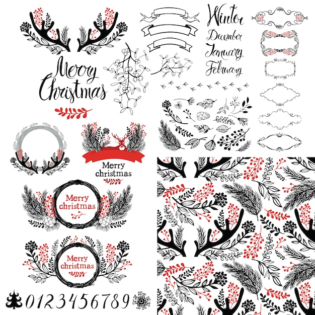 Merry Christmas set Free Vector