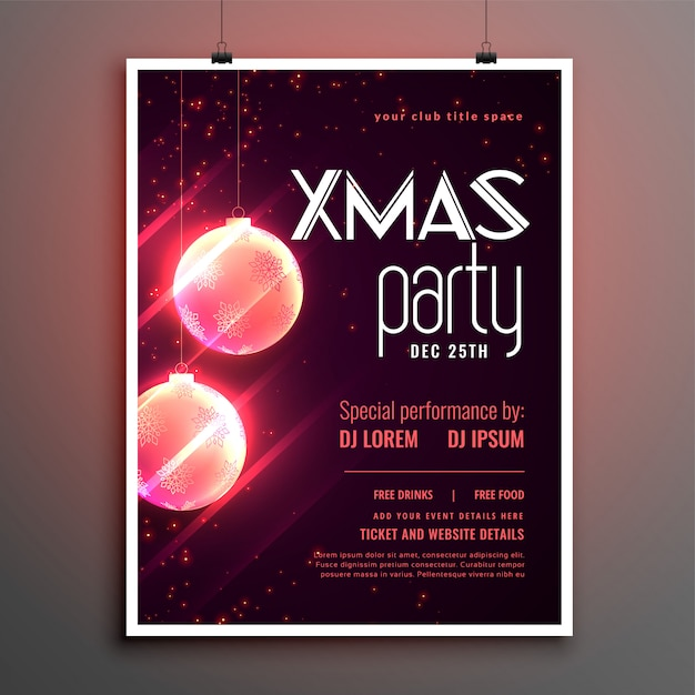 Merry christmas shiny party cover poster template design Free Vector