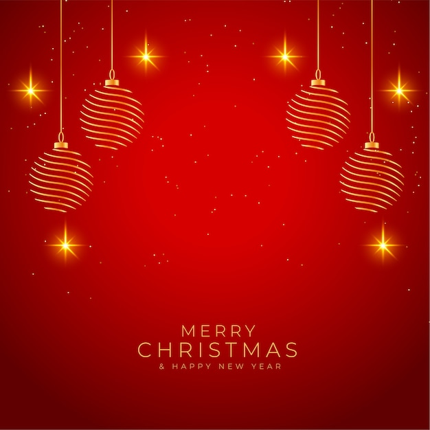 메리 크리스마스 빛나는 빨간색과 황금색 배경 무료 벡터