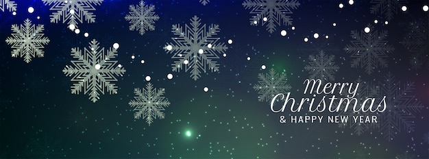 Merry christmas snowflakes banner Free Vector