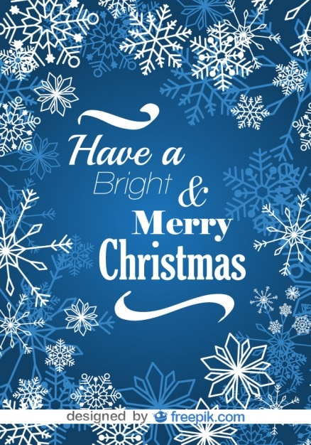 Merry Christmas Snowflakes Blue Postcard Vector | Free Download