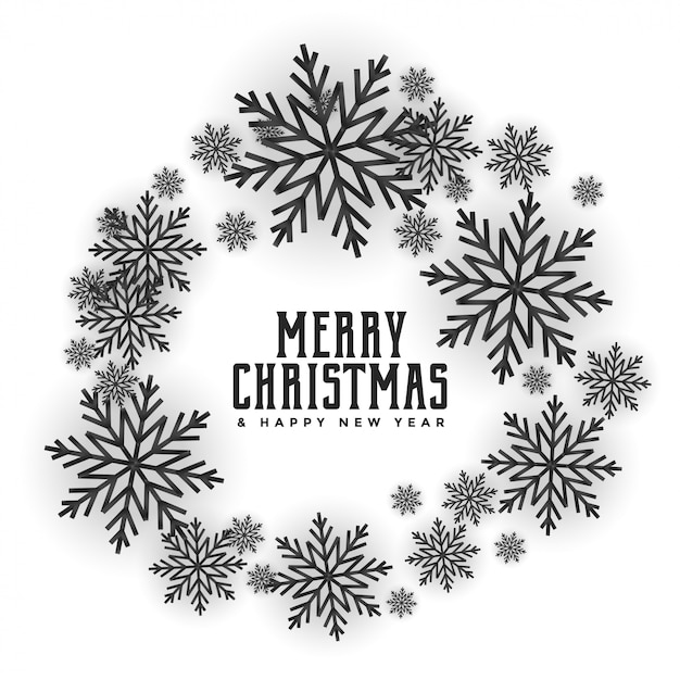 Merry christmas snowflakes frame attractive card design Free Vector
