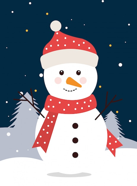 Merry christmas snowman in winter landscape Free Vector