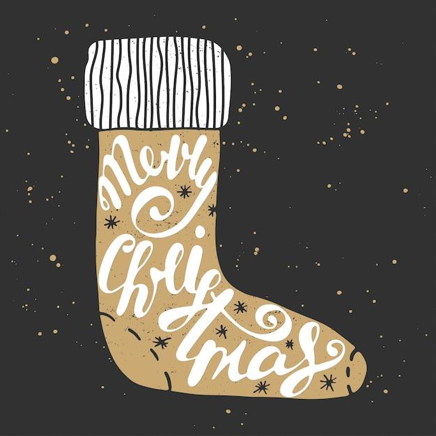 Merry christmas in sock in vintage style. Premium Vector