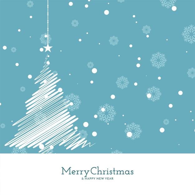 Buon natale morbido sfondo blu con disegno ad albero Vettore gratuito