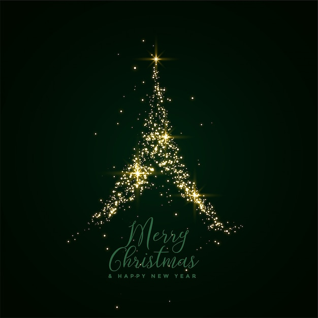 Merry christmas sparkle tree festival card Free Vector