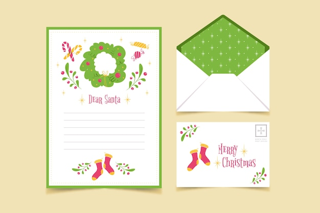 Merry christmas stationery template Free Vector