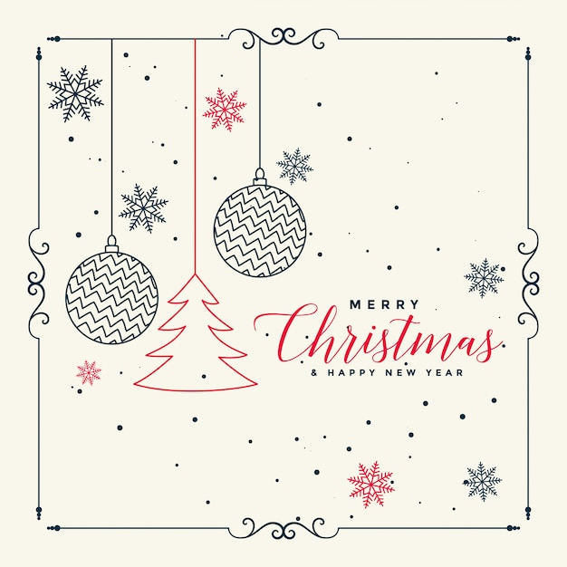 Merry christmas stylish line art background Free Vector