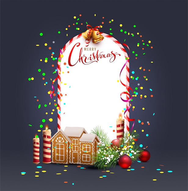 Merry christmas template frame greeting card Premium Vector