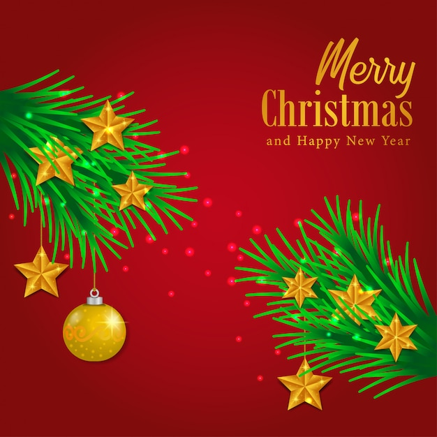 Merry Christmas Template With Garland Vector Premium Download