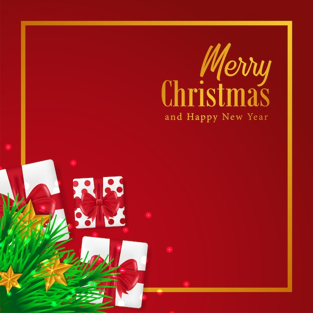 Merry Christmas Template With Gift Box Vector Premium Download