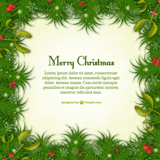 merry christmas template with green leaves free vector - Christmas Templates Free