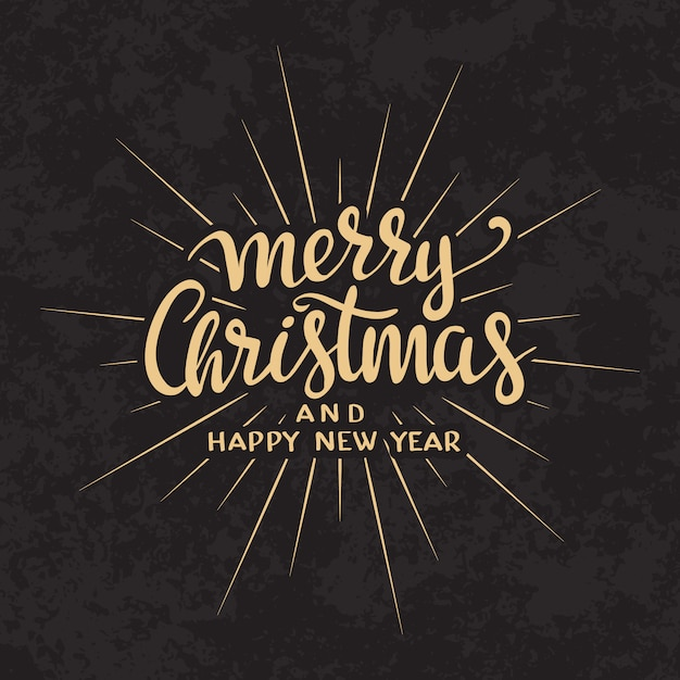 Merry christmas text calligraphic lettering design card template. Free Vector