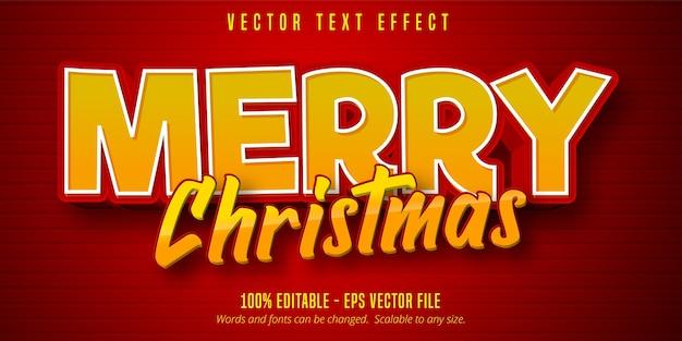メリークリスマスのテキスト、赤い色の漫画スタイルの編集可能なテキスト効果 Premiumベクター