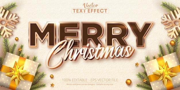 메리 크리스마스 텍스트 로즈 골드 색상 스타일 편집 가능한 텍스트 효과 프리미엄 벡터