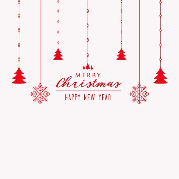 メリークリスマスツリーと雪片の装飾の背景 無料ベクター