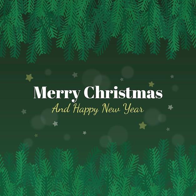 メリークリスマスツリーの枝の背景と新年あけましておめでとうございます 無料ベクター