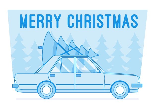 Веселая новогодняя елка на машине Premium векторы