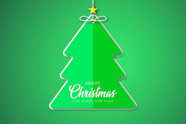 Merry christmas tree sticker Free Vector