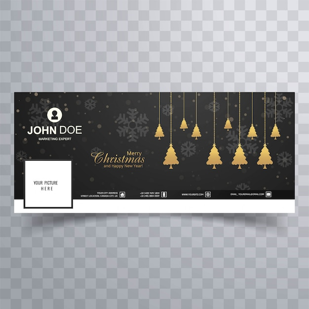 Merry christmas tree with facebook banner colorful template Free Vector
