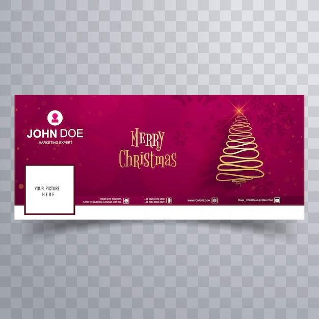 Merry christmas tree with facebook cover banner template Premium Vector