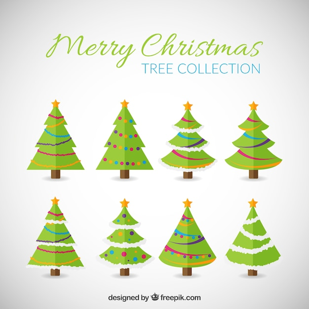 Christmas Tree Collection Gravesend : Merry christmas trees collection vector free download