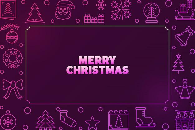 Счастливого рождества вектор красочная рамка в стиле структуры Premium векторы