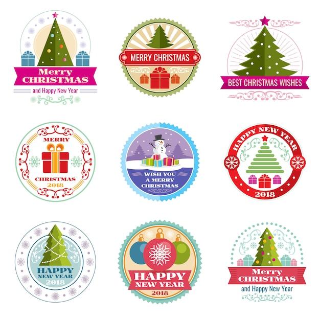 メリークリスマスのベクトルのラベル。冬の休日のレトロなエンブレムとロゴ Premiumベクター