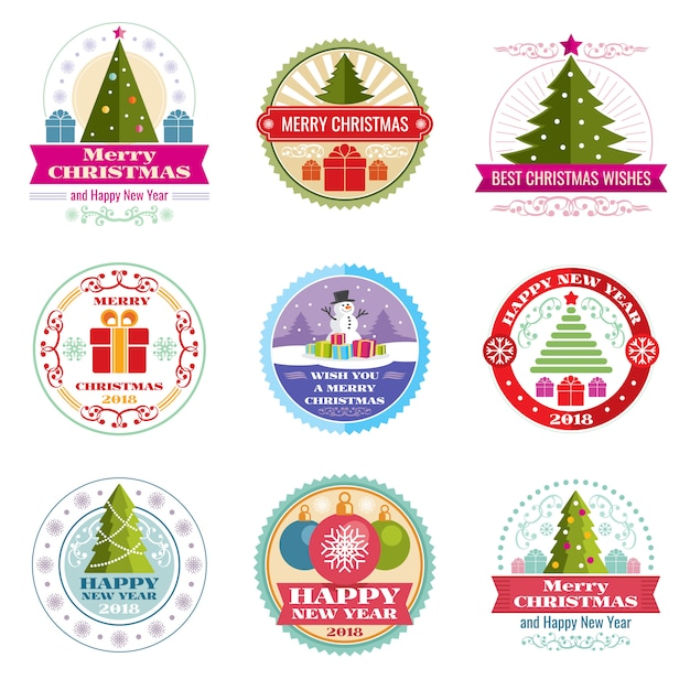 Merry christmas vector labels. winter holiday retro emblems and logos Premium Vector