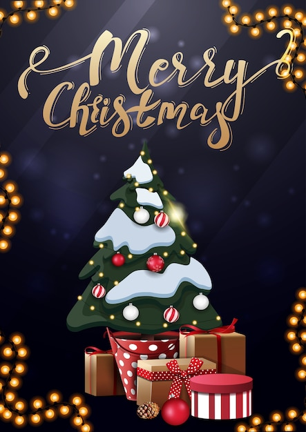 メリークリスマス、ゴールドのレタリングとギフトとポットのクリスマスツリーと垂直の青いポストカード Premiumベクター